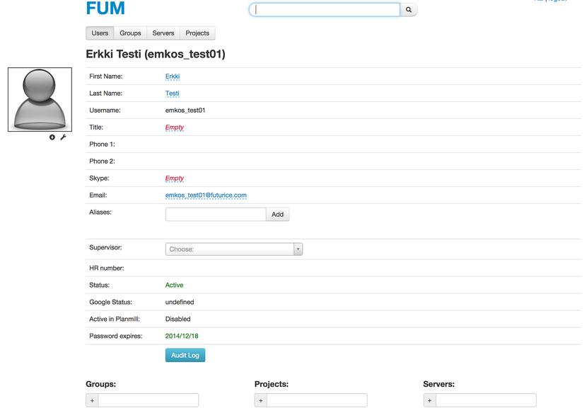 Screenshot of FUM
