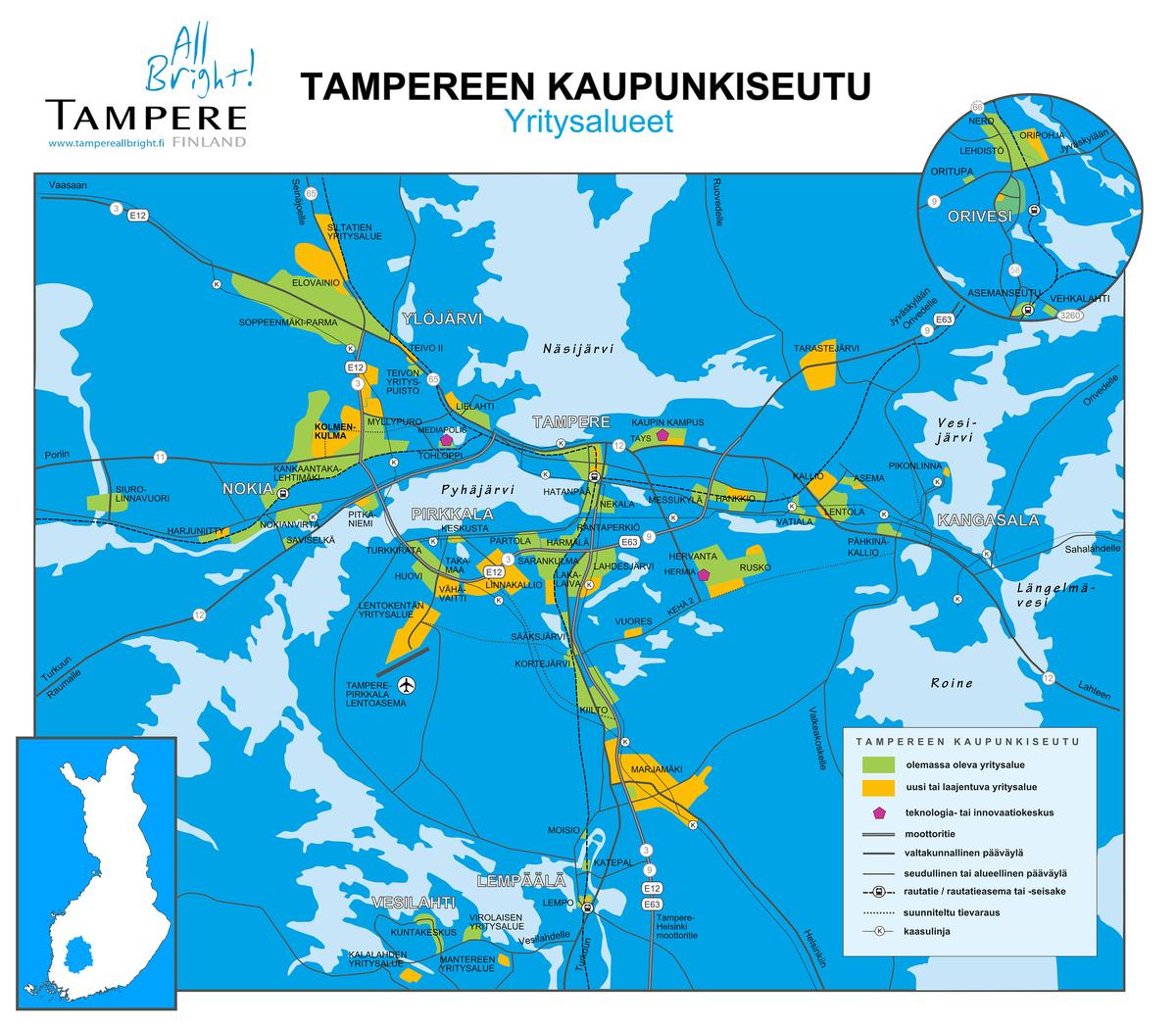 Tampereen kaupunkiseutu kartta