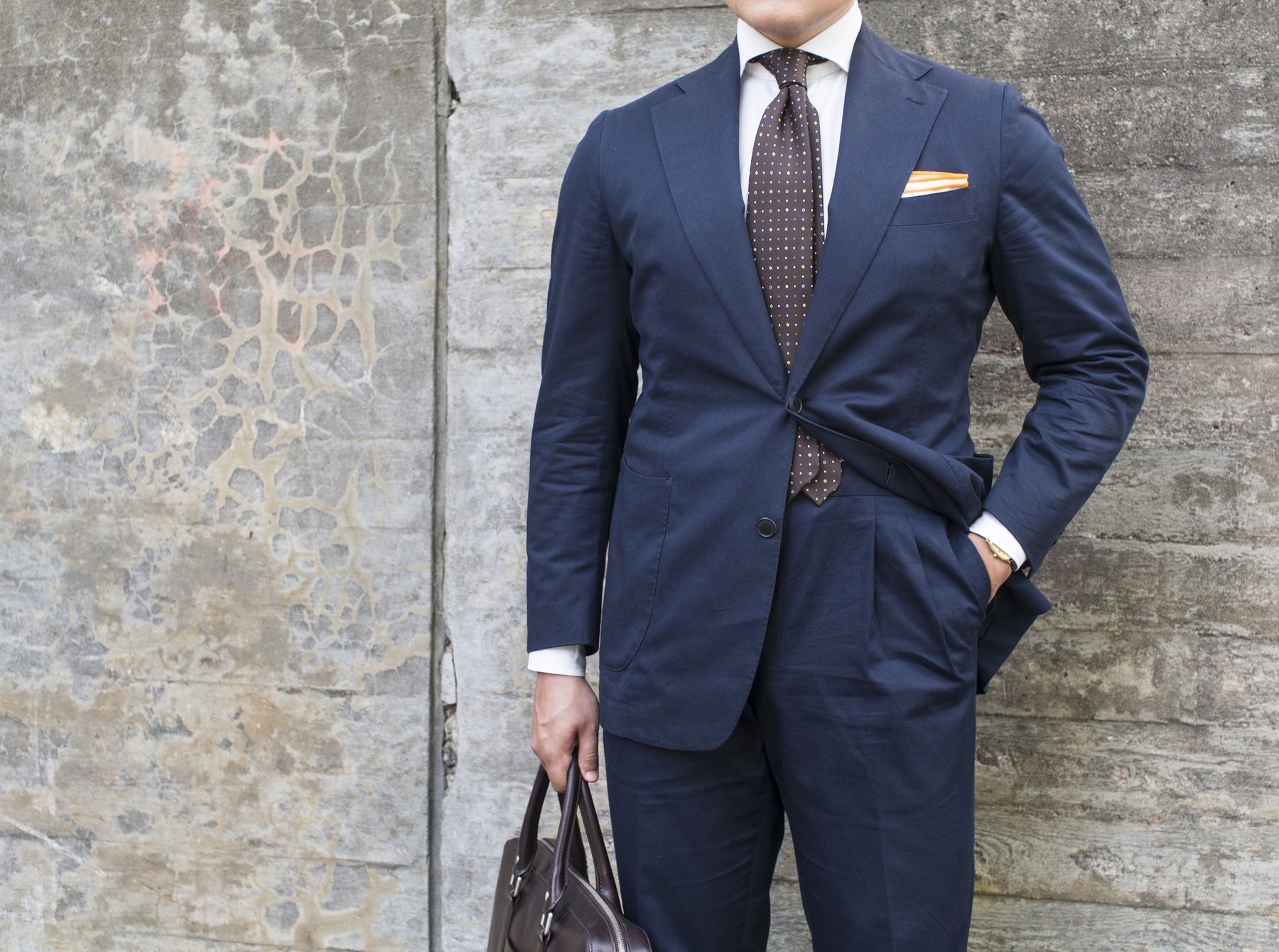Navy Cotton Suit as Summer Business Suit