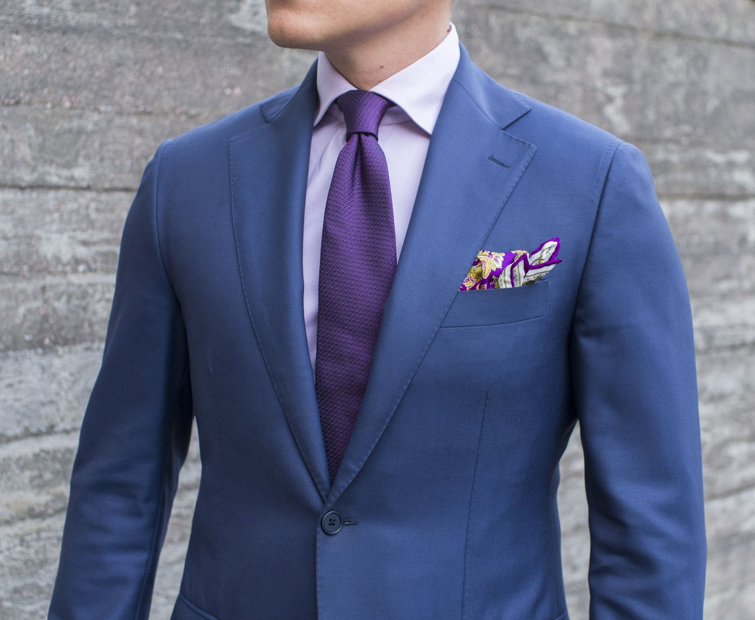 Navy Suit With Purple Accessories