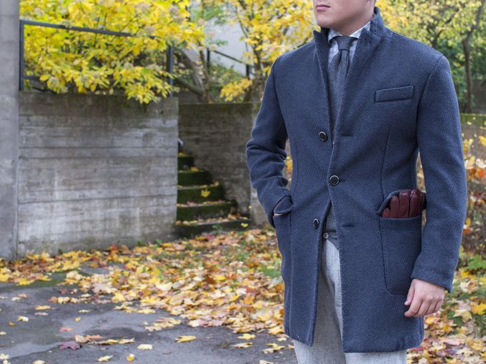 ​​L.B.M. 1911 coat with SuitSupply shirt and flannel trousers, Guarracina cashmere tie and Dents gloves.​
