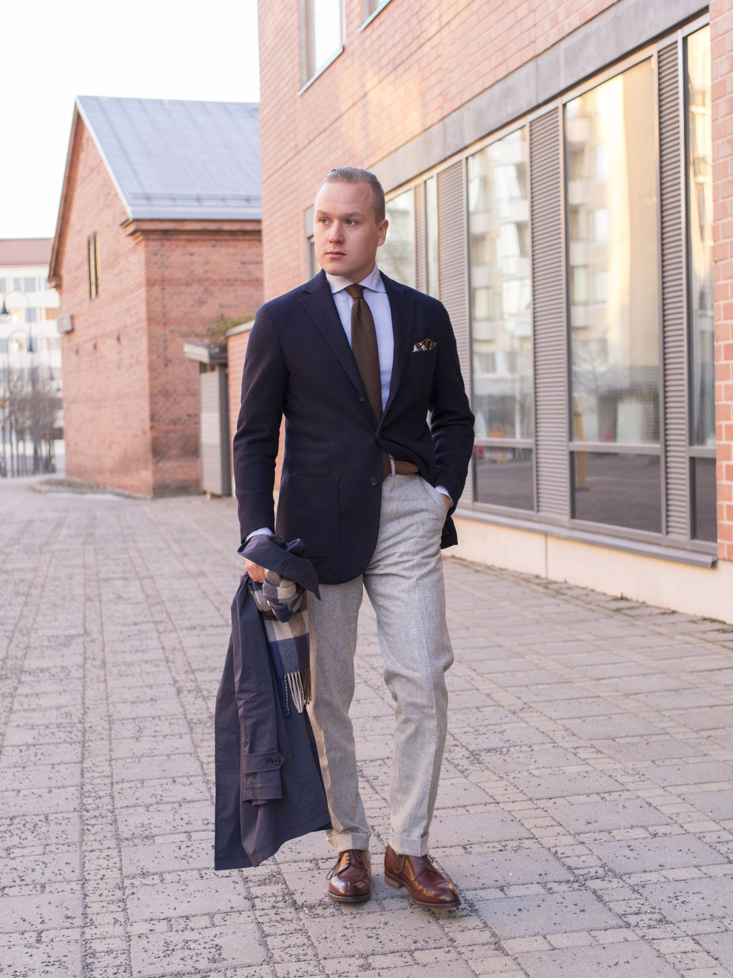 Dress up formally - The Unstructured Wool Flannel Jacket Is From Luigi Bianchi Mantova Shirt From Suitsupply Seven Fold Brown Cashmere Herringbone Tie From Brioni