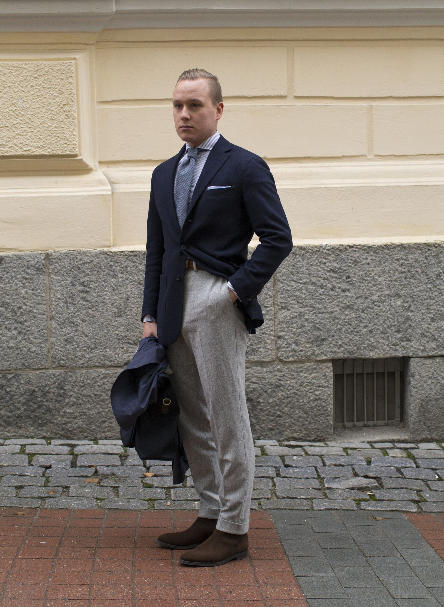 Navy Jacket With Grey Flannel Trousers