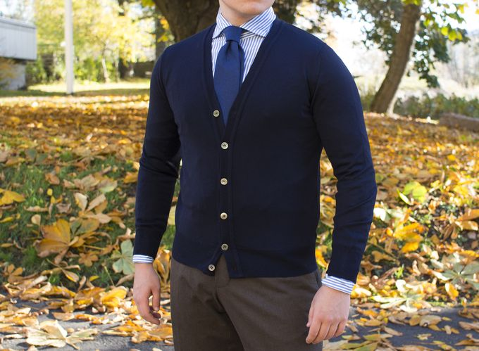 ​Berg & Berg Merino wool cardigan, Berg & Berg 100% handrolled cashmere tie, Luxire shirt and trousers.​