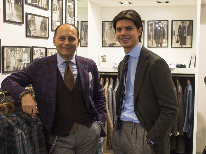 Pino Luciano and Lorenz Kolbe from the amazing La Vera Sartoria Napoletana stand.​