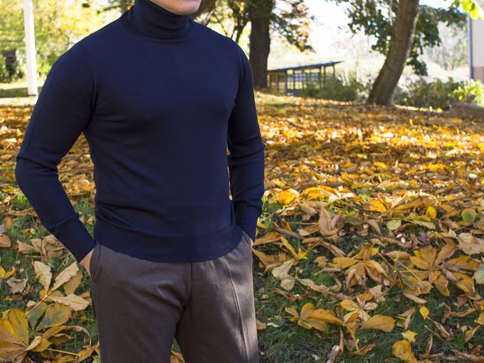 ​Berg & Berg navy turtleneck and Luxire trousers.​