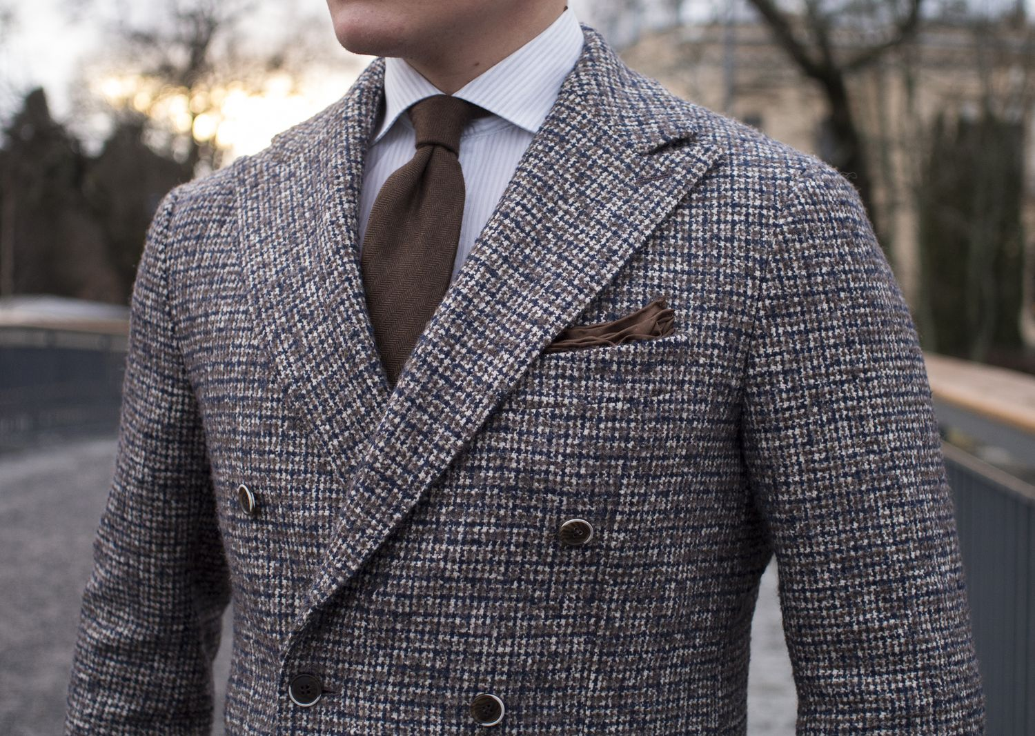 Double-Breasted Tweed Jacket For Winter