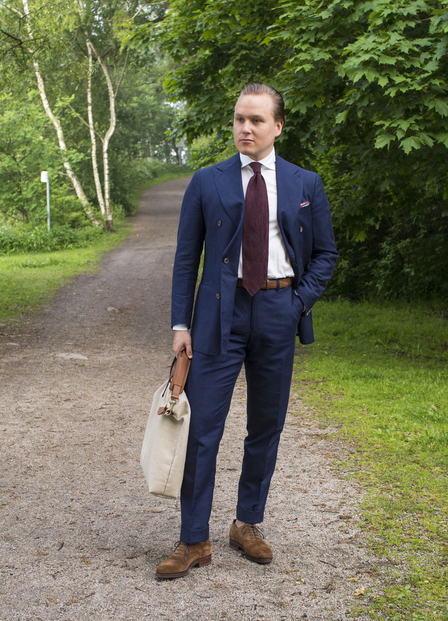 Double-Breasted Wool Blend Summer Suit