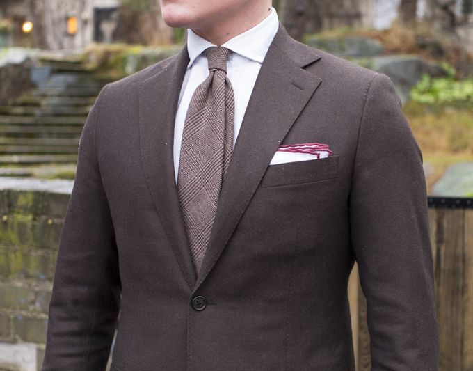 Brown made-to-order flannel suit, 270g/m2 Ariston fabric. Berg & Berg wool tie and Shibumi Berlin linen pocket square.