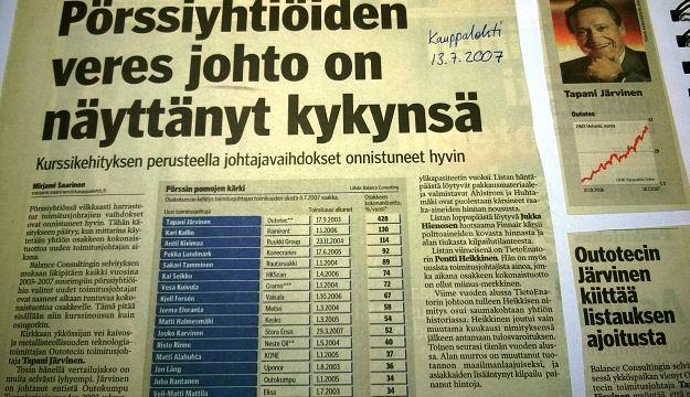 Kauppalehti 13.7.2007, tarkastelussa  toukokuun 2003 jälkeen valittujen toimitusjohtajien johtamien suurten yhtiöiden pörssituotot.