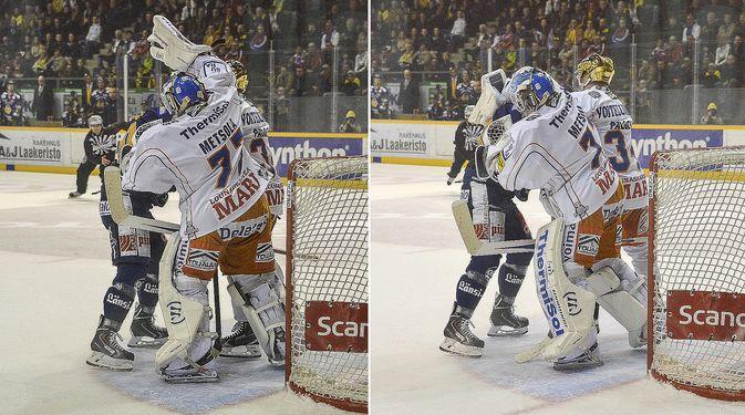 Jos Juha Metsola löi Mikko Kousaa kilvellä, hänelle olisi pitänyt tuomita ottelurangaistus. Kuva: Pekka Lehmuskallio.