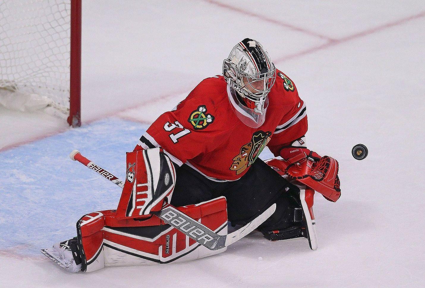 Antti Raanta on torjunut tällä kaudella viidestä NHL-ottelusta kolme voittoa. Raumalaisen torjuntaprosenttii on 94,2.