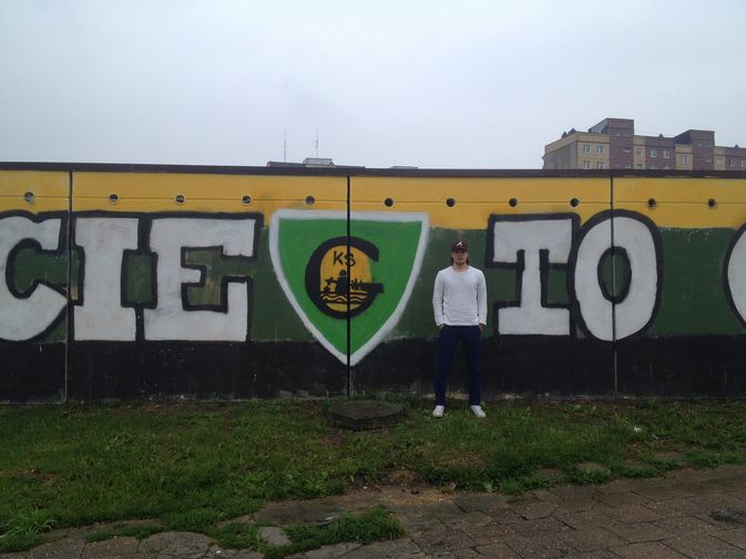 GKS Katowicen logoon törmää usein yli 300 000 asukkaan kaupungissa. Johannes Selin tähtää ensi kaudeksi kiekkojoukkueen ykköstorjujaksi.