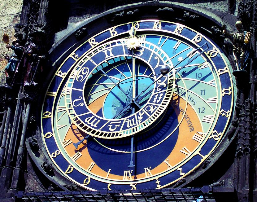 The Prague astronomical clock showing both time and astronomical details