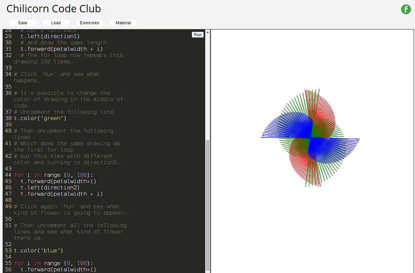 A screenshot showing a code editor on the left and a drawing produced by the program on the right.