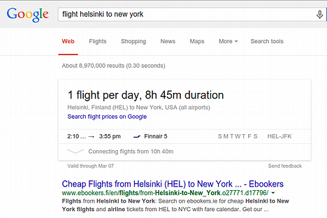 Google shows special result view for certain types of queries