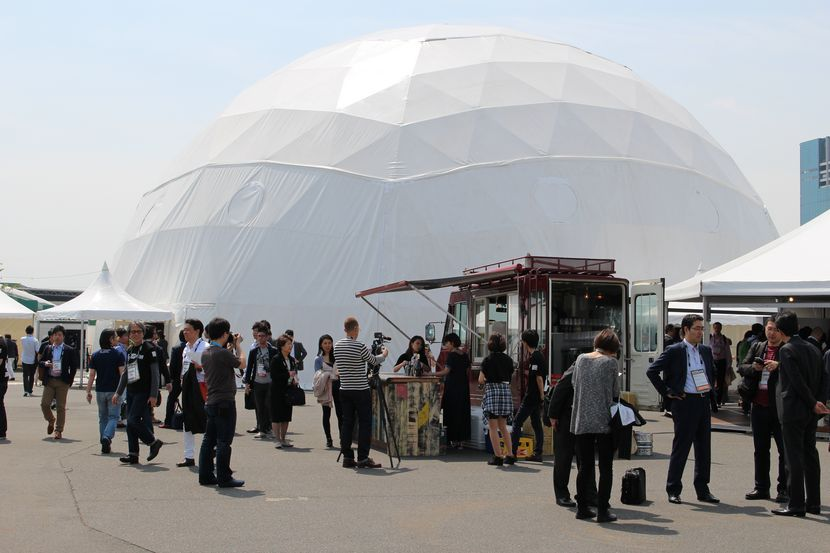 The futuristic domes at the event grounds.​