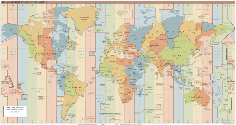 Time zones without DST on August 2015