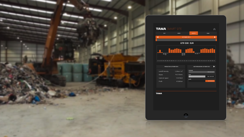 Context of use, hardware + tablet UI of Tana SmartSite, developed in co-operation with Futurice​