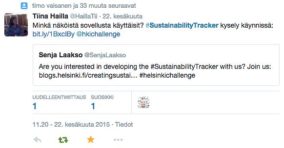 sustainability tracker testing ideas on many frontiers helsinki