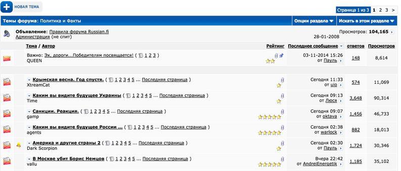 Putinin politiikkaa kehuvat trollit kylvävät riitaa Suomen suurimmalla venäjänkielisellä keskustelupalstalla Russian.fi:ssä. Eräässä palstan Ukrainan kriisiä käsittelevässä ketjussa on jo yli 23 000 viestiä ja ketjua on luettu yli 240 000 kertaa.