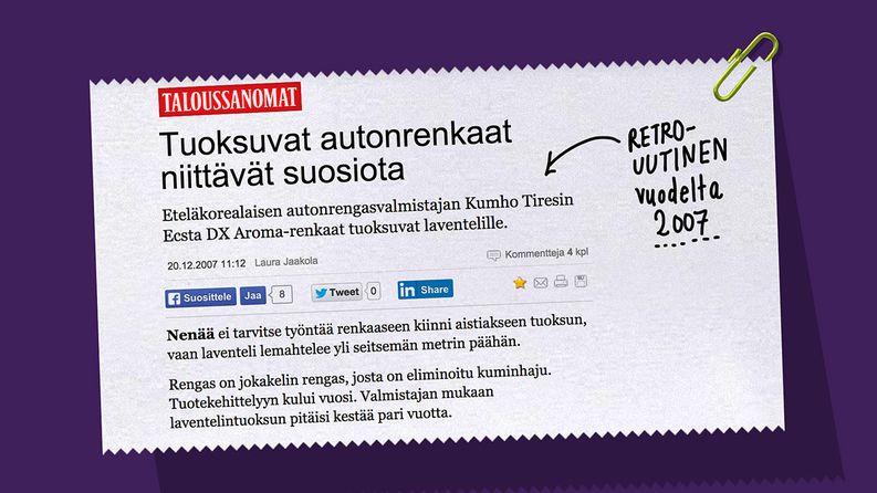 Kasper löysi myös Taloussanomien rengasaiheisen RETRO-UUTISEN: laventelintuoksuisia autonrenkaita!