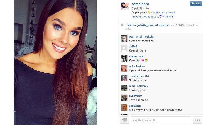 Kuvakaappaus Saran Instagramista