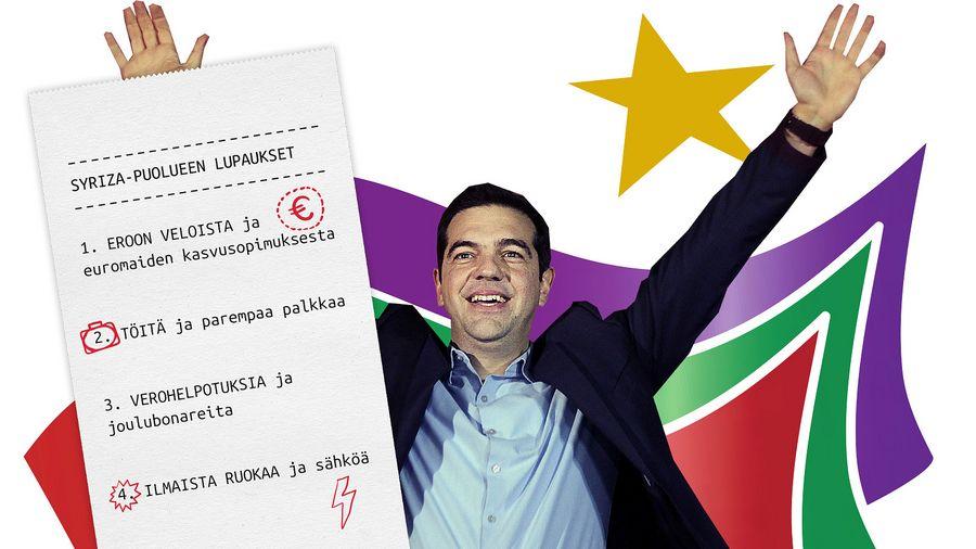 Syrizan puheenjohtaja Alexis Tsipras vaalivoiton jälkeen. EPA/ORESTIS PANAGIOTOU.