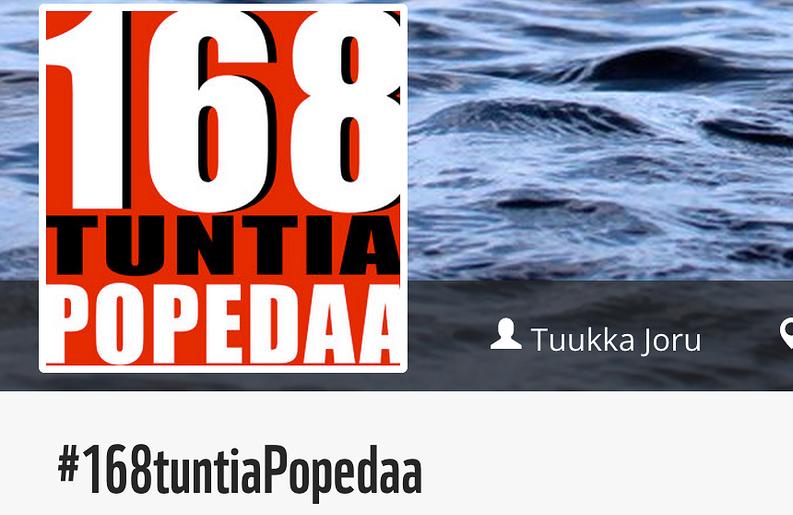 Tuukka Joru kerää tempauksellaan rahaa Itämeren hyväksi. Kuvakaappaus WWF:n keräyssivulta.
