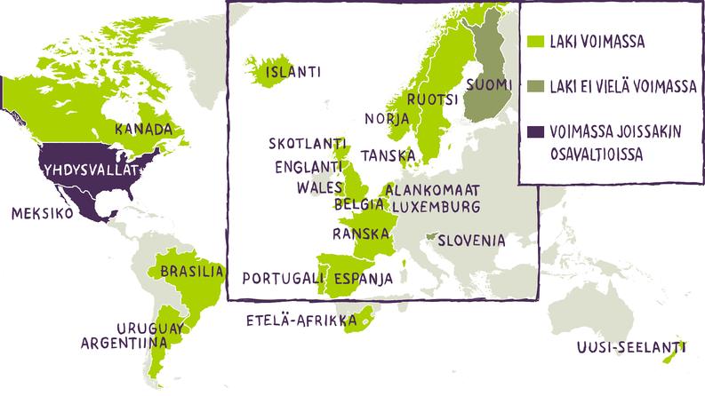 Samaa sukupuolta olevat parit voivat mennä naimisiin vaaleanvihreällä merkatuissa maissa. Suomessa viime vuonna uudistettu avioliittolaki tulee voimaan vuonna 2017. Kartta: Jami Nurminen / Kioski