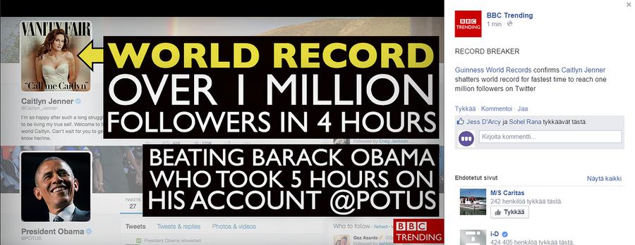Kuvakaappaus BBC Trending Facebook.