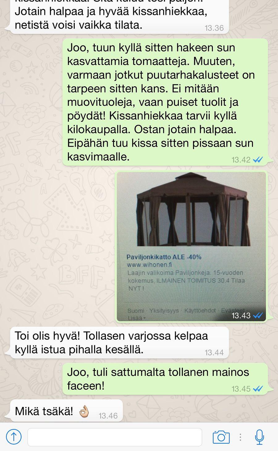Puutarhapaviljongin mainos ilmestyi Facebookiin nopeasti.