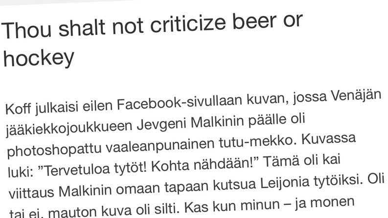 Kuvakaappaus Sini Korpisen blogikirjoituksesta.