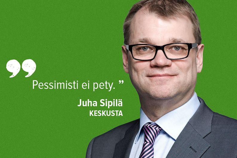 Vaalivoittaja Juha Sipilä toisti Ylen tulosillassa kolme kertaa sloganinsa.