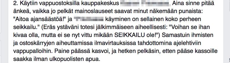 Kaverini kertoo Facebookissa arjestaan negatiivisuushaasteen innoittamana.