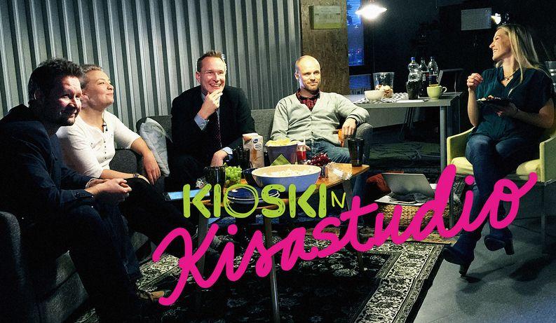 Kioskin historian ensimmäisessä nettilivessä Marjan (oik.) vieraana Sakari Sirkkanen, Katleena Kortesuo, Markku Jokisipilä ja Teemu Vesterinen.
