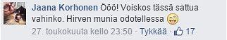 Kuvakaappaus Suomen Luonnonvalokuvaajat -ryhmän Facebook-sivulta.