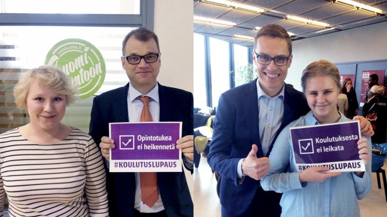 Juha Sipilä ja Alexander Stubb vaalilupauksineen. Kuvakaappaus sosiaalisesta mediasta.