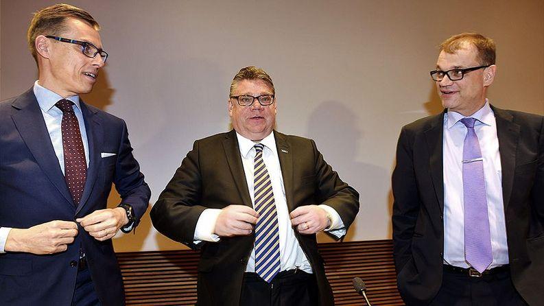 Stubb, Soini ja Sipilä. Kolme S:ää. Kuva: Martti Kainulainen / Lehtikuva