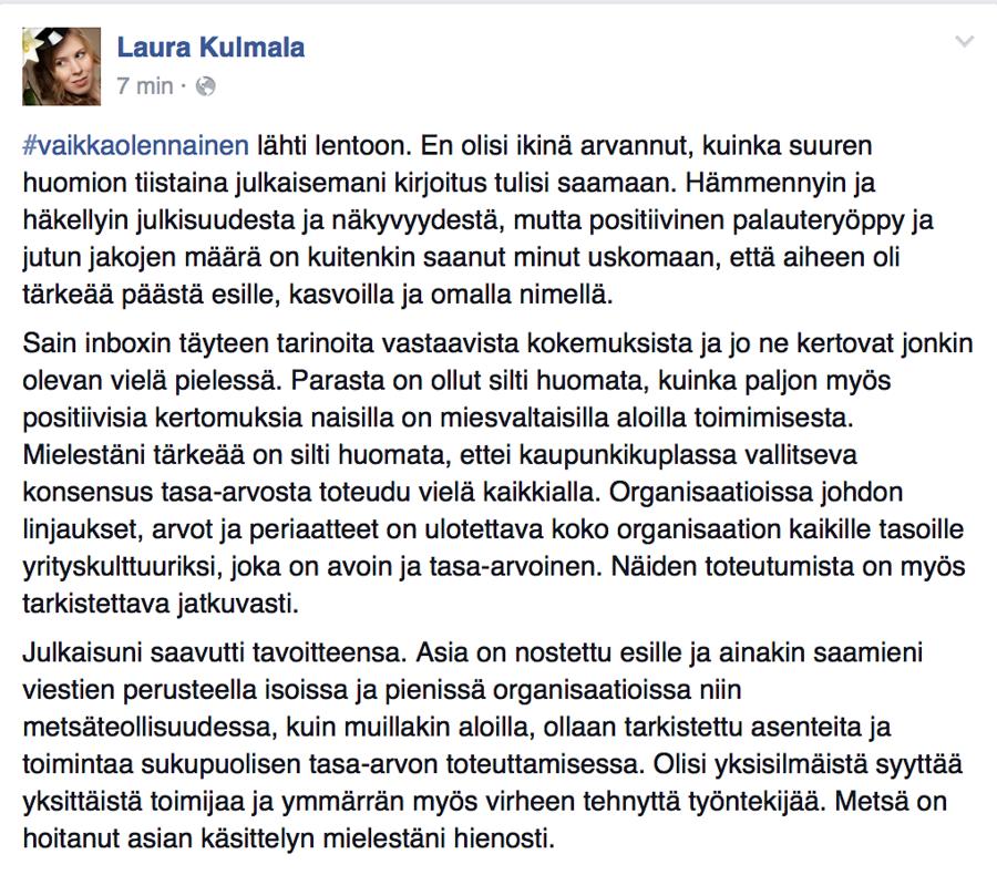 Laura Kulmala kommentoi tapausta julkisessa Facebook-päivityksessään torstaina.
