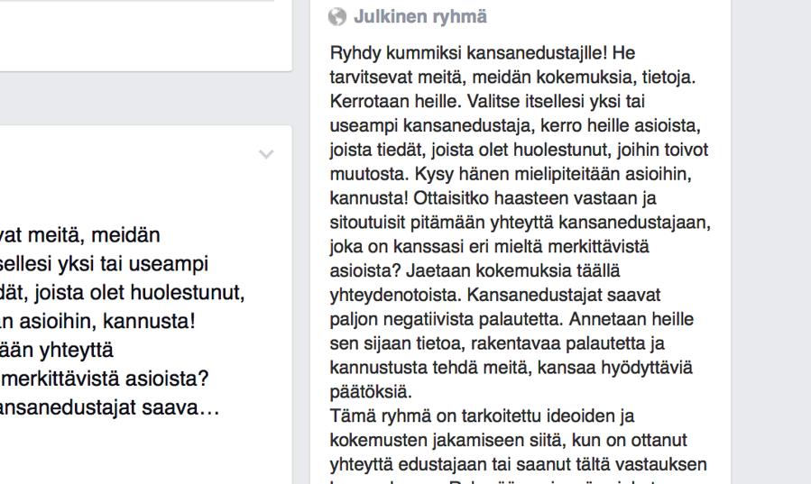 Ruutukaappaus Kummiksi kansanedustalle -ryhmän kuvauksesta.