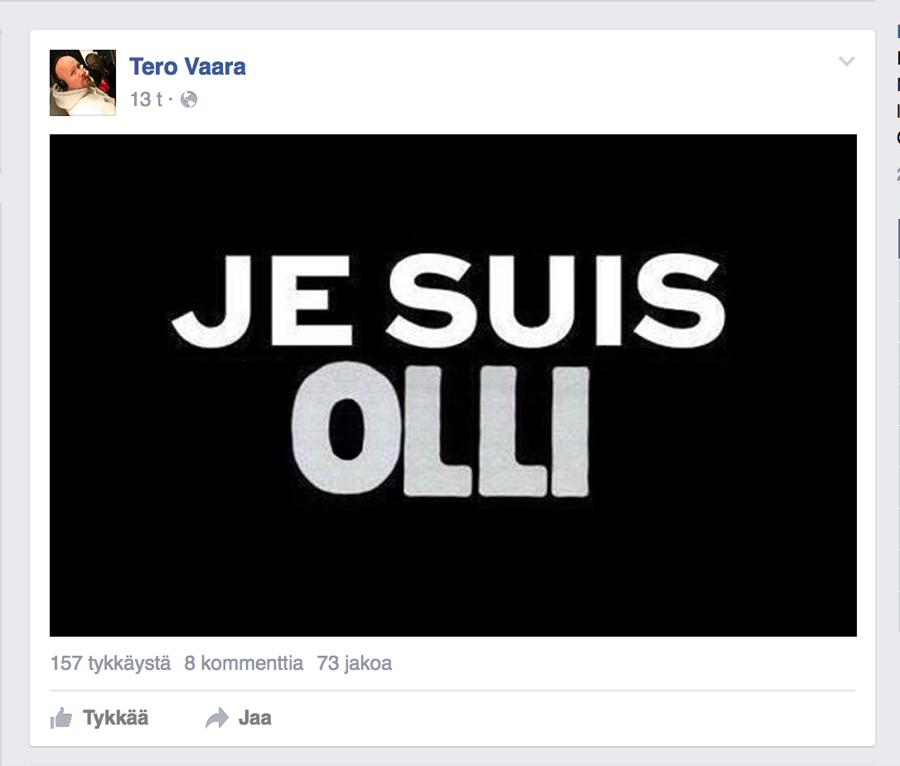Kuvakaappaus Tero Vaaran Facebook-sivuilta.