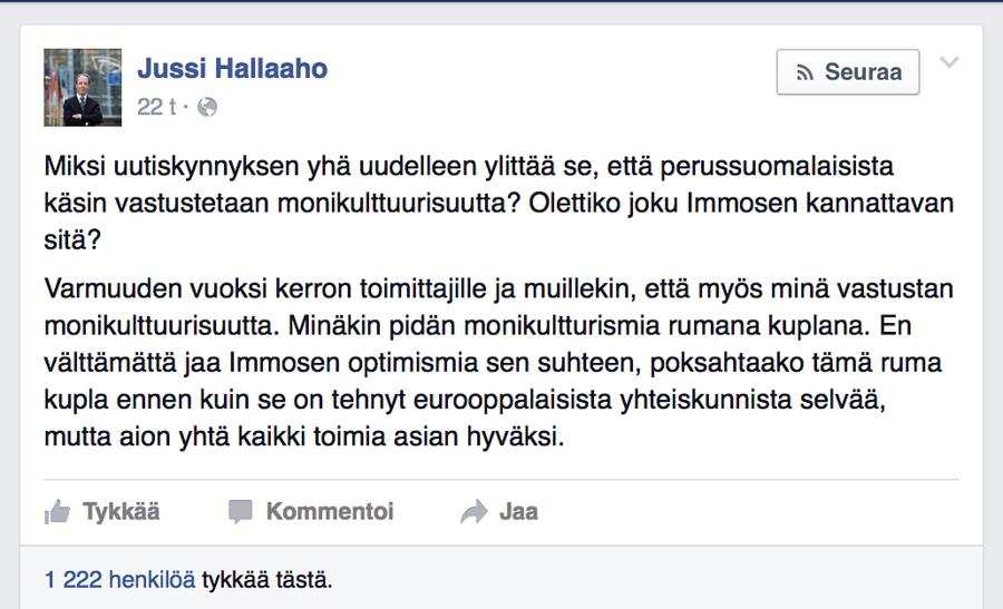 Kuvakaappaus Jussi Halla-Ahon Facebook-sivuilta.