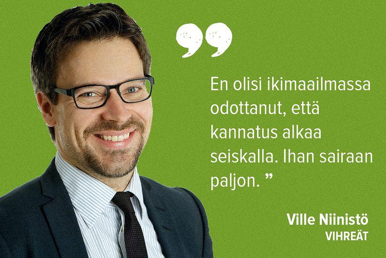 Näin vihreiden Ville Niinistö intoili tulosta Ylen Tulosillassa.