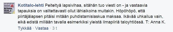 Kuvakaappaus Isännöintiliiton julkaiseman Kotitalo-lehden Facebook-seinältä.