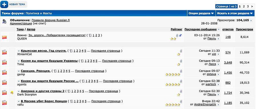Прославляющие политику Путина тролли сеют рознь в форуме russian.fi, в самом многочисленном русскоязычном форуме в Финляндии. В дискуссионной цепи по теме «украинский кризис» поместили уже более 23 000 комментарий, и цепь была прочитана более 240 000 раз.