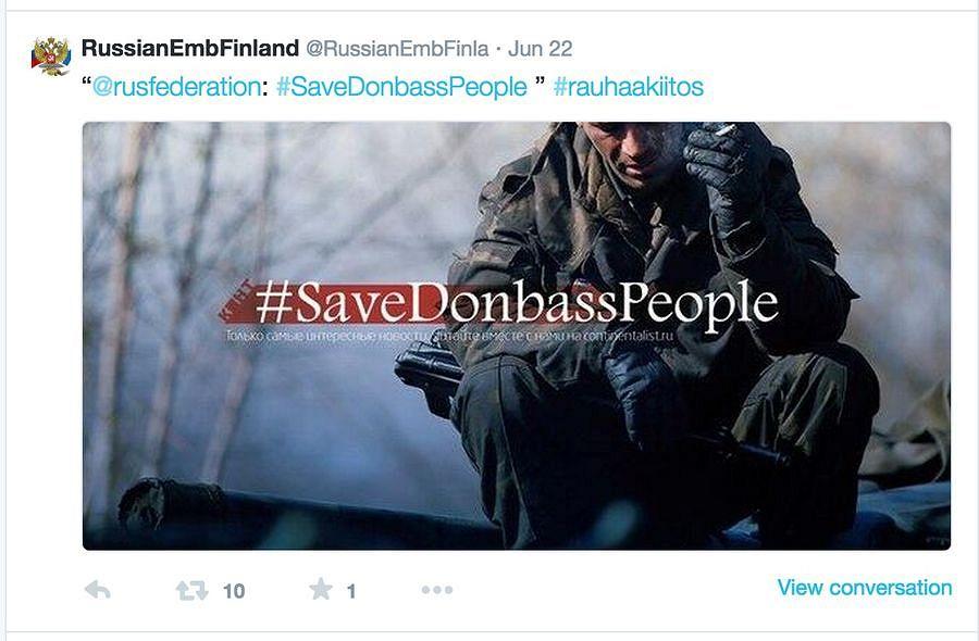 Аккаунт Посольства Российской Федерации в Хельсинки использует хештэг #rauhaakiitos финского блоггера, первоначально направленного на Россию, когда призывает Украину к миру, хотя сама Россия является участником конфликта.
