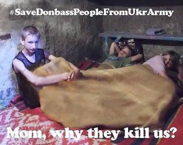 Turvallisuuspolitiikan bloggaaja Janne Riiheläinen on kerännyt talteen noin 2 500 somessa jaettua, Ukrainan kriisiin liittyvää propagandakuvaa. Venäjän Ukraina-propagointi on Riiheläisen mukaan selvästi järjestelmällisempää verrattuna muiden maiden infovaikuttamiseen. Tässä Twitterissä jaetussa kuvassa syytetään Ukrainan armeijaa lasten tappamisesta Itä-Ukrainassa.
