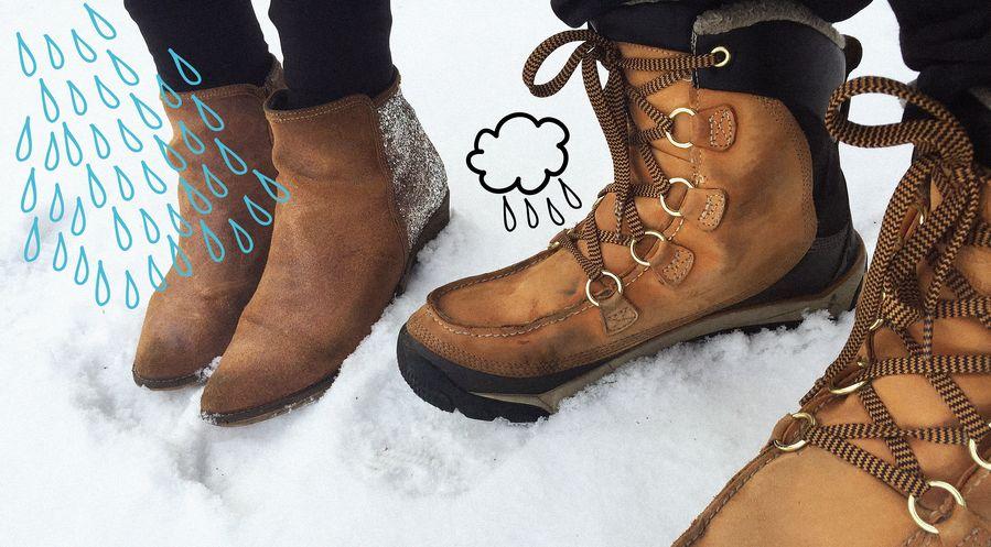 Nahkakengät eivät kestä Suomen talvea ilman suojaa.