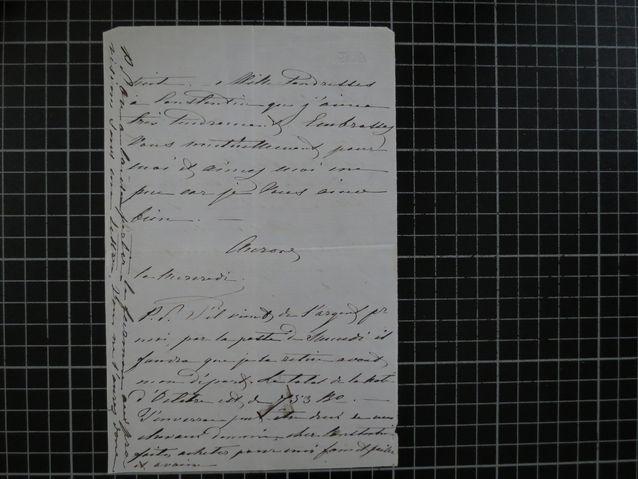 Ote Aurora Karamzinin ranskankielisestä kirjeestä Marie Linderille 1860-luvulta. Kuva: Kansallisarkisto, valokuvannut Sirkka Lauerma.